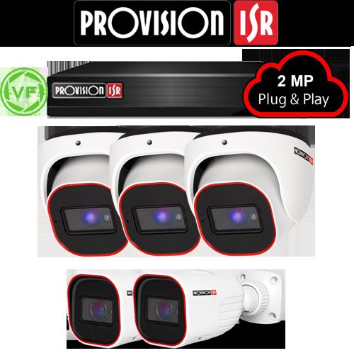 2MP Systeem met 3 Turret en 2 Bullet varifocal camera's