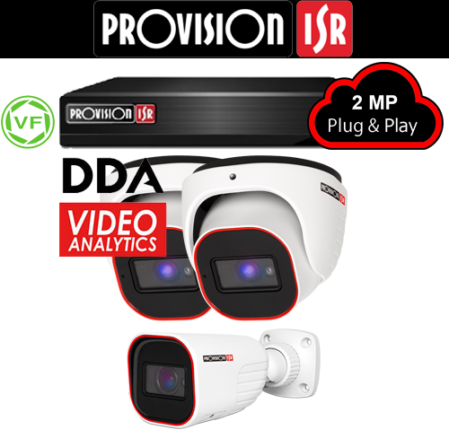 2MP Systeem met 2 turret varifocal en 1 Bullet DDA analytics camera's