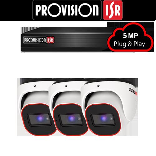 5MP AHD camerasysteem met 3 Turret camera's