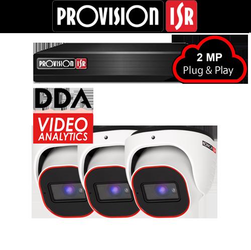 2MP Systeem met 3 turret DDA analytics camera's