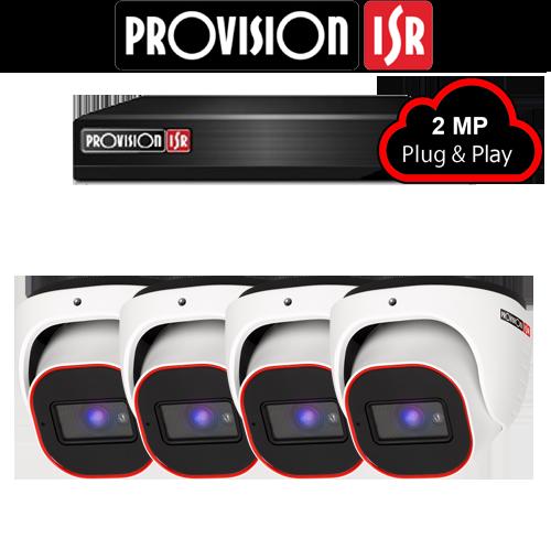 2MP AHD camerasysteem met 4 Turret camera's
