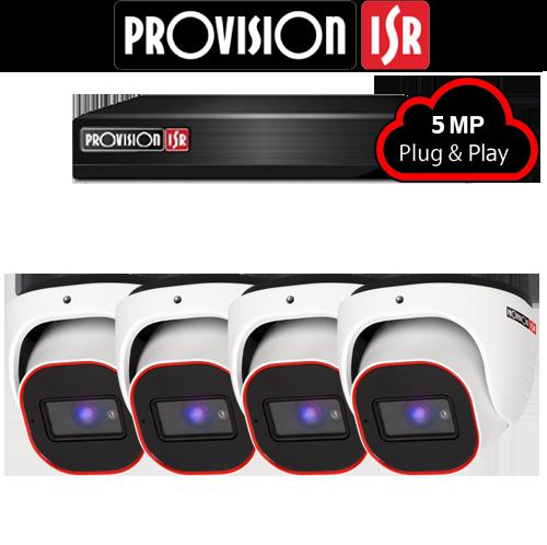 5MP AHD camerasysteem met 4 Turret camera's