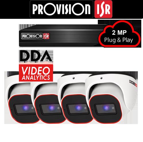 2MP Systeem met 4 turret DDA analytics camera's