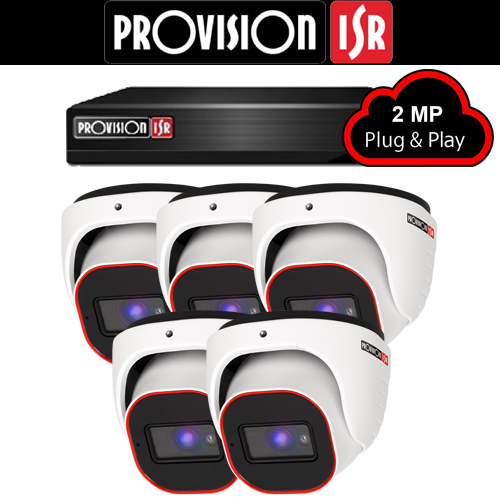 2MP AHD camerasysteem met 5 Turret camera's