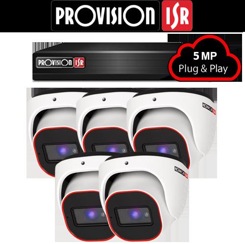 5MP AHD camerasysteem met 5 Turret camera's