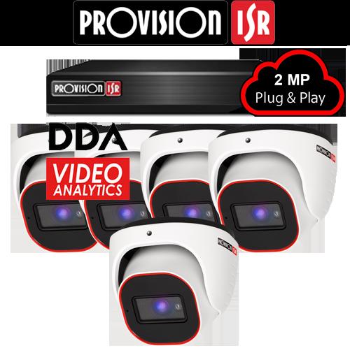 2MP Systeem met 5 turret DDA analytics camera's