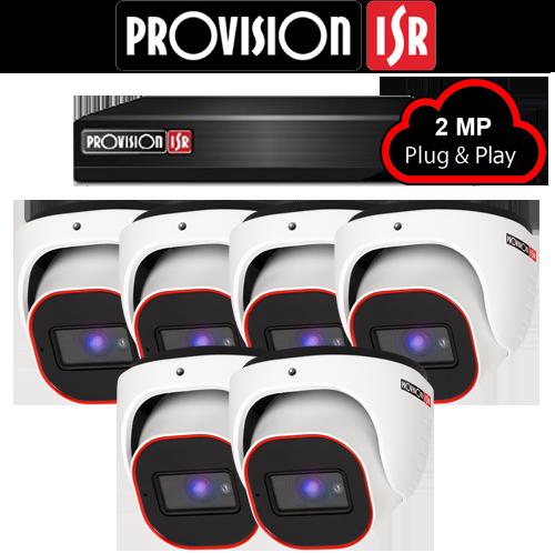2MP Systeem met 6 Turret camera's