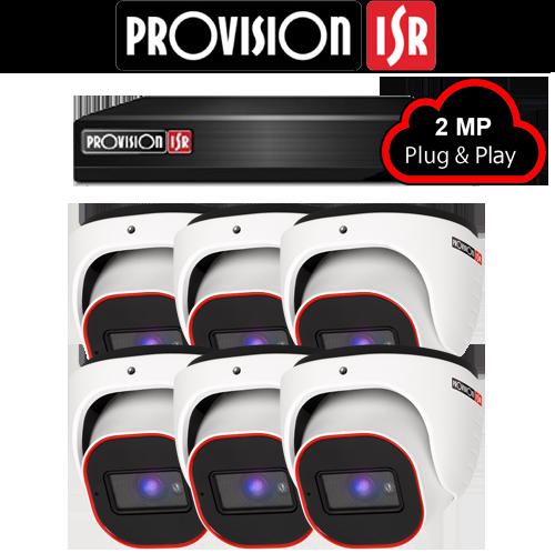 2MP AHD camerasysteem met 6 Turret camera's