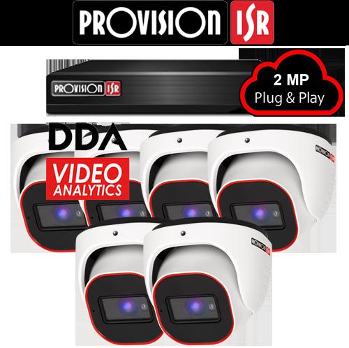 2MP Systeem met 6 turret DDA analytics camera's