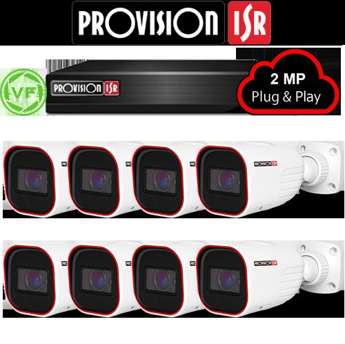 2MP Systeem met 8 Bullet varifocal camera's