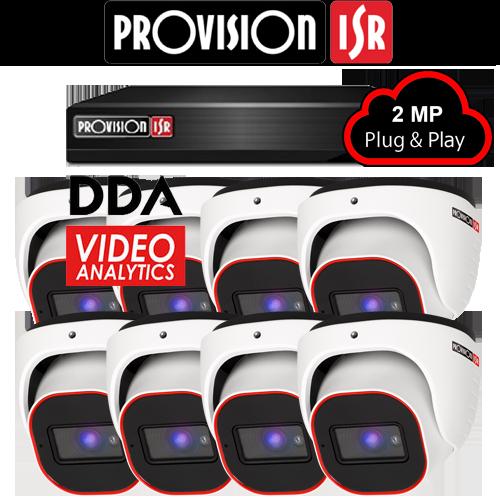 2MP Systeem met 8 turret DDA analytics camera's