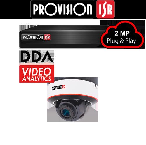 2MP Systeem met 1 Dome DDA analytics camera