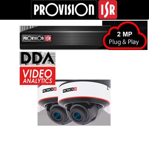 2MP Systeem met 2 Dome DDA analytics camera's
