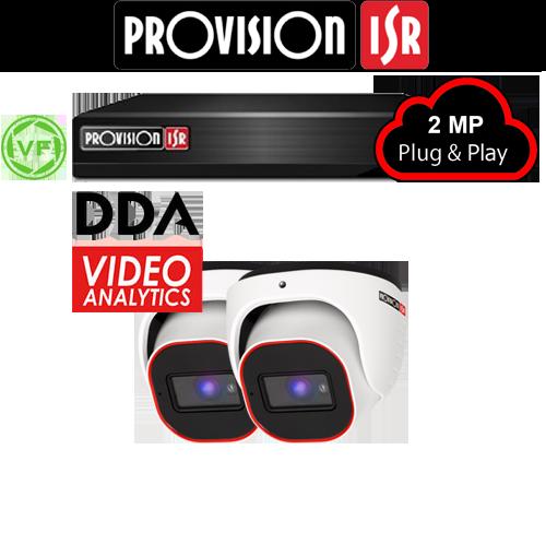 2MP Systeem met 2 Turret DDA analytics varifocal camera's