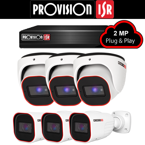 2MP Systeem met 3 Turret en 3 Bullet camera's