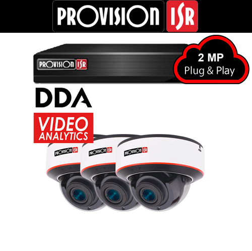 2MP Systeem met 3 Dome DDA analytics camera's