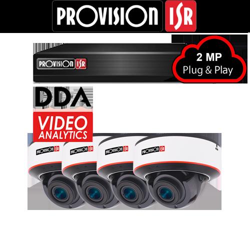 2MP Systeem met 4 Dome DDA analytics camera's